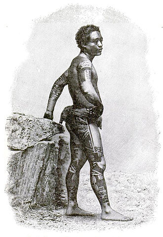 Culture of the Marquesas Islands - An 1890 etching showing a Marquesan man in his tattoos