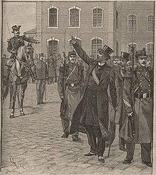Gravura retratando dois homens em roupas civis, cartolas e trajes da cidade, escoltados por uma tropa de soldados.