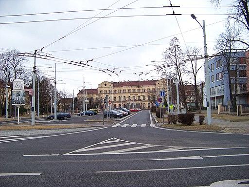 Teplice, Vrchlického, pohled k nádraží od Masarykovy třídy