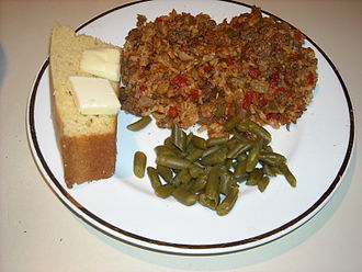 Hash (food) - Texas hash with cornbread and green beans