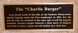 Charlie Nagreen - Plaque showing The Charlie Burger on Hamburger Charlie statue in Seymour, Wisconsin.