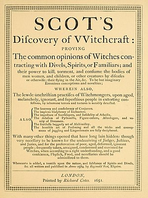 The Discoverie of Witchcraft - Title page of the 1651 edition