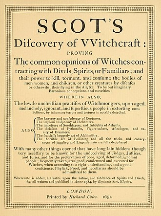 The Discoverie of Witchcraft - Title-page of the 1651 edition, as reprinted and reset in 1886
