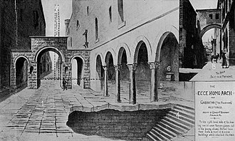 Via Dolorosa - Gabbatha ('the pavement'); dotted lines show where modern forms cover the original Ecce Homo arch.