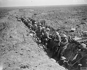 Grenadier Guards - Attack on Moyenneville. Men of the Grenadier Guards consolidating the former German second line. Near Courcelles, France, 21 August 1918.