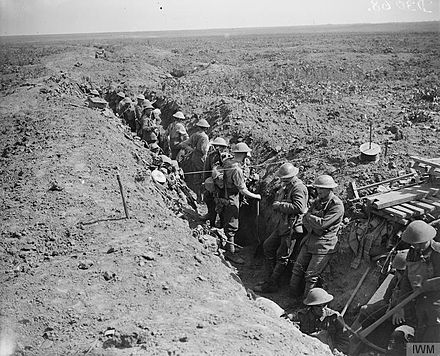 Attack on Moyenneville. Men of the Grenadier Guards consolidating the former German second line. Near Courcelles, France, 21 August 1918. The Hundred Days Offensive, August-november 1918 Q6984.jpg