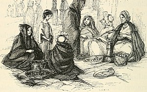 Huckster - Women huckstering from The Irish Sketch-Book, 1845