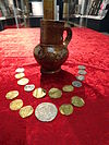 Jug and 17 coins constituting the Mason Hoard