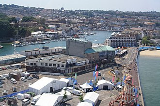 Weymouth Pavilion - The rear of Weymouth Pavilion and Weymouth Harbour during the Summer 2012 Olympics.