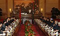 The Prime Minister, Dr. Manmohan Singh with the Chinese Premier, Mr. Wen Jiabao at the delegation level talks, in Great Hall of People, Beijing in China on January 14, 2008.jpg