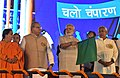 The Prime Minister, Shri Narendra Modi at the National Convention of Swachhagrahis, launching several development projects, at Motihari, in Bihar.jpg