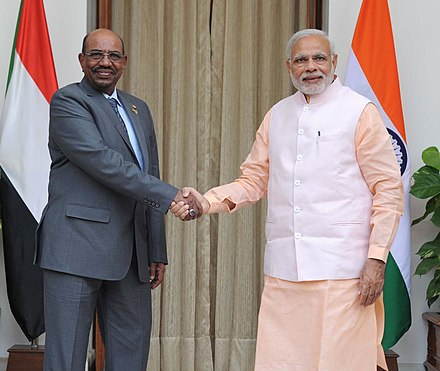Al Bashir meeting with Indian Prime Minister Narendra Modi, New Delhi, India, 30 October 2015 The Prime Minister, Shri Narendra Modi meeting the President of Sudan, Mr. Omar al-Bashir, in New Delhi on October 30, 2015.jpg