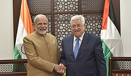 The Prime Minister, Shri Narendra Modi meeting with the President of the State of Palestine, Mr. Mahmoud Abbas, at Ramallah, Palestine on February 10, 2018.jpg