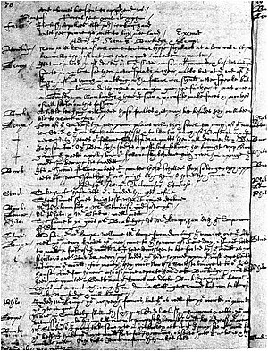 Parnassus plays - Manuscript of the Return from Parnassus; Or the Scourge of Simony, the page containing Kempe's comment on Shakespeare. Act IV, scene 4