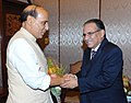 The Union Home Minister, Shri Rajnath Singh meeting the Chairman of United Communist Party of Nepal, Shri Pushpa Kamal Dahal Prachanda, in Kathmandu on September 19, 2014.jpg