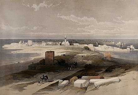 Tyre seen from the Isthmus - coloured lithograph by Belgian Watercolourist Louis Haghe after a 1839 drawing by Scottish painter David Roberts, published in 1843 The ancient city of Tyre, taken from the isthmus. Coloured l Wellcome V0049481.jpg