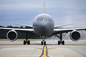 The first KC-46A Pegasus lands at Seymour Johnson Air Force Base, North Carolina, June 12, 2020.jpg