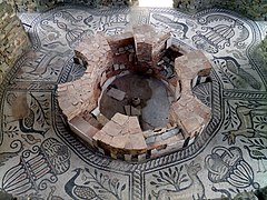 The mosaic floor in the episcopal basilicas baptistery, Stobi (7359154348).jpg