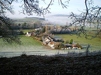 City, Powys - The farming settlement of Bachaethlon, looking towards the northwest.