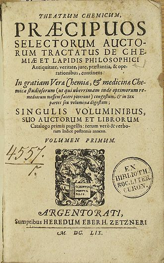 Theatrum Chemicum - Page One of Theatrum Chemicum Volume I.  Published 1602, Oberursel by Lazarus Zetzner.
