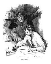 "Drawing of RMS Titanic's captain and radio operator, titled ""The S.O.S"""