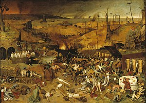 Consequences of the Black Death - Pieter Bruegel's The Triumph of Death (c. 1562) reflects the social upheaval and terror that followed the plague which devastated medieval Europe