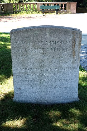 Thomas Mayhew - Marker for Thomas Mayhew homestead in Watertown, Massachusetts