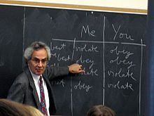 Nagel at a chalkboard