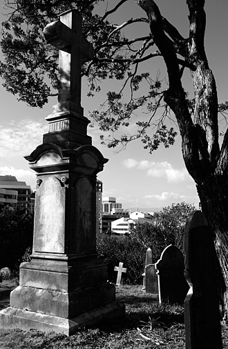 Bolton Street Memorial Park - View of the cemetery in Bolton Street Memorial Park, with central city high-rises in the background