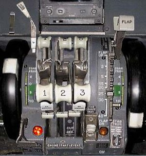 Aircraft engine position number - Thrust levers in a Boeing 727 with the engine number on each lever
