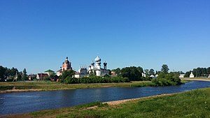 Tikhvin Assumption Monastery - The panorama of the monastery from the Tikhvinka River