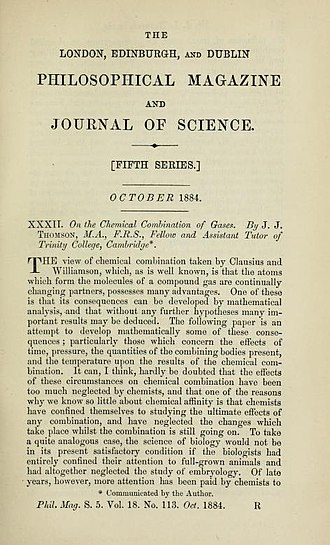 J. J. Thomson - Image: Title page On the Chemical Combination of Gases by Joseph John Thomson 1856 1940