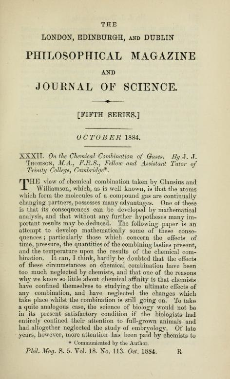Title page On the Chemical Combination of Gases by Joseph John Thomson 1856-1940