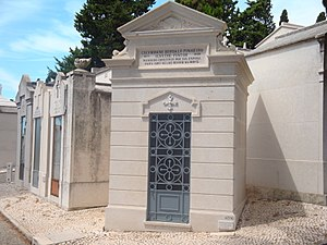 Prazeres Cemetery - Tomb of painter Columbano Bordalo Pinheiro in the Prazeres Cemetery