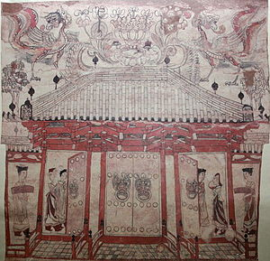 Chinese architecture - A tomb mural of Xinzhou, dated to the Northern Qi (550-577 AD) period, showing a hall with a tiled roof, dougong brackets, and doors with giant door knockers (perhaps made of bronze)