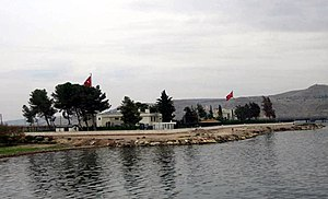 Tomb of Suleyman Shah - View of the building complex of the Tomb of Suleyman Shah (its second location, 1973 – February 2015), seen from the Euphrates river.