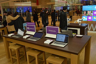 Windows 8 - Windows 8 ultrabooks device showcase in a Microsoft Store Toronto.