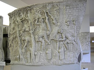 Battle of Sarmisegetusa - Roman soldiers building a bridge and a mountain road in Dacia, from Trajan's Column.