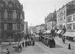 Tram at Carl Johans Gate and Egertorget in 1907, Oslo.