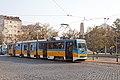 Tram in Sofia near Russian monument 074.jpg