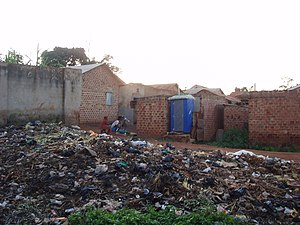 Phase-out of lightweight plastic bags - Heap of trash including plastic bags in Kampala, Uganda