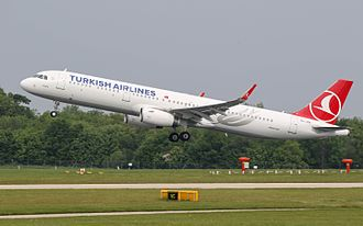 Turkish Airlines, the flag carrier of Turkey, is the largest carrier in the world by number of countries served as of 2019 . Turkish Airlines Airbus A321 TC-JTH (26716697834).jpg