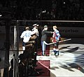 U.S. Army Col. David Grosso, the Fort Carson garrison commander, thanks Colorado Avalanche captain Gabe Landeskog following the ceremonial puck drop between the two teams' captains during the second annual 130421-A-UK001-004.jpg