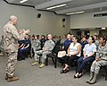 U.S. Marine Corps Sgt. Maj. Bryan Battaglia, standing, the senior enlisted adviser to the chairman of the Joint Chiefs of Staff, holds a town hall meeting at Ellington Field Joint Reserve Base in Houston 130826-Z-VS466-030.jpg