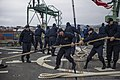 U.S. Sailors prepare to get underway aboard the guided missile destroyer USS Truxtun (DDG 103) in Varna, Bulgaria, after a scheduled port visit March 16, 2014 140316-N-EI510-031.jpg