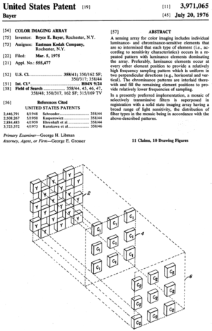 Bayer filter - Front page of Bryce Bayer's 1976 patent on the Bayer pattern filter mosaic, showing his terminology of luminance-sensitive and chrominance-sensitive elements
