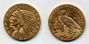 1914 USA 5 dollars coin.