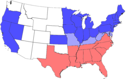 Map of the division of the states during the Civil War.  Blue represents Union states, including those admitted during the war; light blue represents Union states which permitted slavery; red represents Confederate states. Unshaded areas were not states before or during the Civil War.