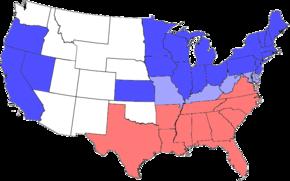 Stany Konfederacji zaznaczone na czerwono. Stany Unii zaznaczone na niebiesko. Jaśniejszy niebieski oznacza stany Unii, w których panowało niewolnictwo