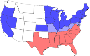 Solid South - United States during the Civil War. Blue represents Union states, including those admitted during the war; light blue represents border states; red represents Confederate states. Unshaded areas were not states before or during the Civil War